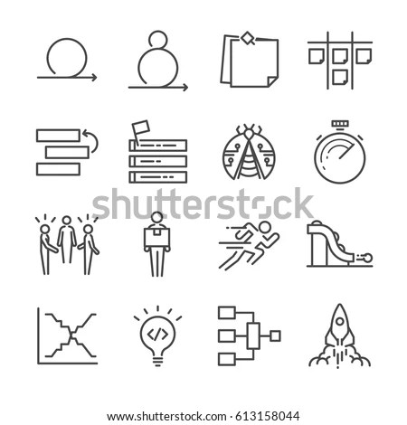 Agile Software Development Icons Set Stock Vector