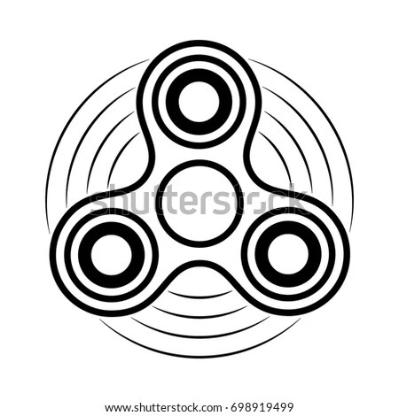 Fidget Spinner Line Vector Icon Finger Stock Vector