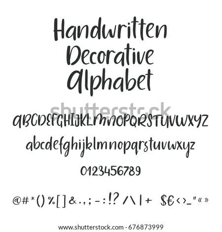 Handwritten Brush Style Letters Modern Calligraphy Stock