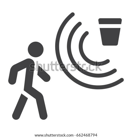 Motion Detector Solid Icon Security Guard Stock Vector