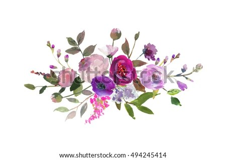 Watercolor Floral Bouquet Purple Red Pink Stock