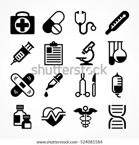 Medical Icons On White Background Medicine Stock Vector