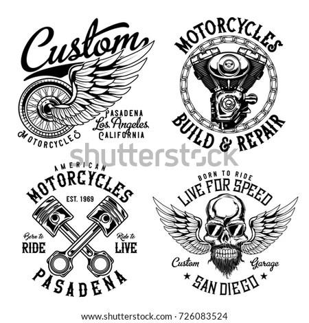 Set Vintage Emblems Logos Badges Template Stock