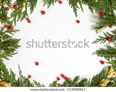 Christmas Background Border Evergreen Fir Tree Stock Photo