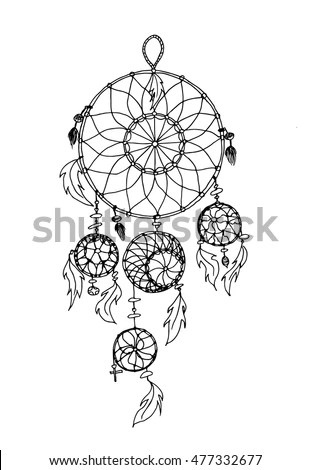 Vector Illustration Dreamcatcher Painted By Hand Stock