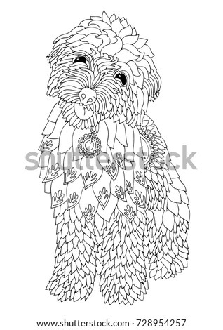 Hand Drawn Dog Sketch Antistress Adult Stock Vector