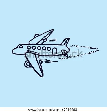 Vector Illustration Fighter Spitfire Black White Stock