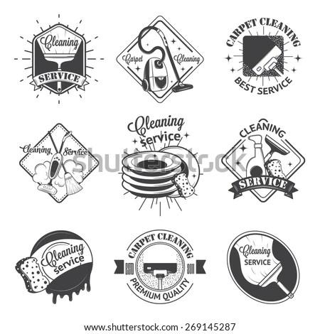 Set Vintage Logos Labels Badges Cleaning Stock Vector