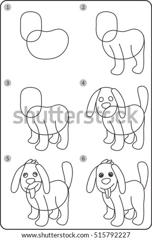 Step By Step Drawing Dog Easy Stock Vector 515792227