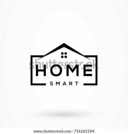 Creative Home Smart Logo Detailing Clean Stock Vector