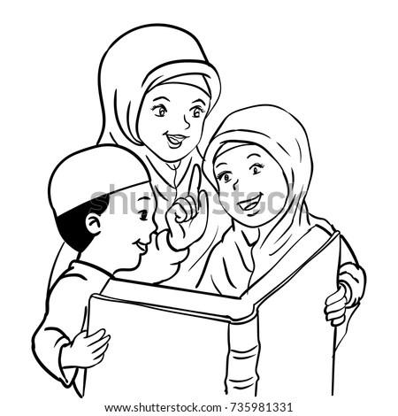 Cartoon Muslim Mother Son Daughter Read Stock Vector
