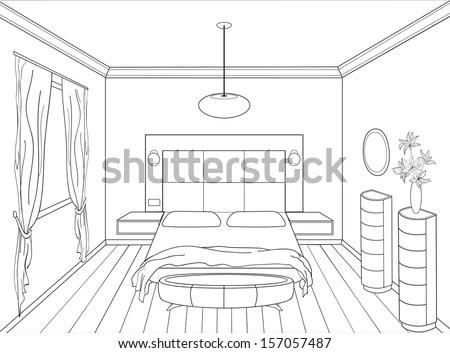 Editable Vector Illustration Outline Sketch Interior Stock