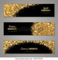 Horizontal Black Gold Banners Set Greeting Stock Vector