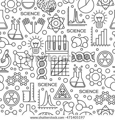 Seamless Pattern Science Line Icons Modern Stock Vector