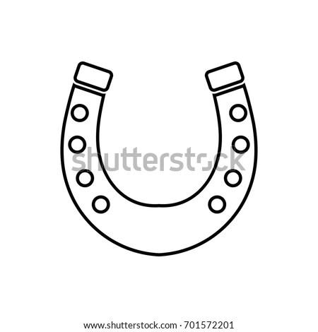 Good Luck Horseshoe Inscription Vector Symbol Stock Vector