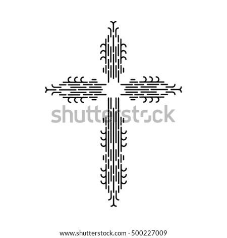 Christian Symbols Hatched Stock Illustration 88973371