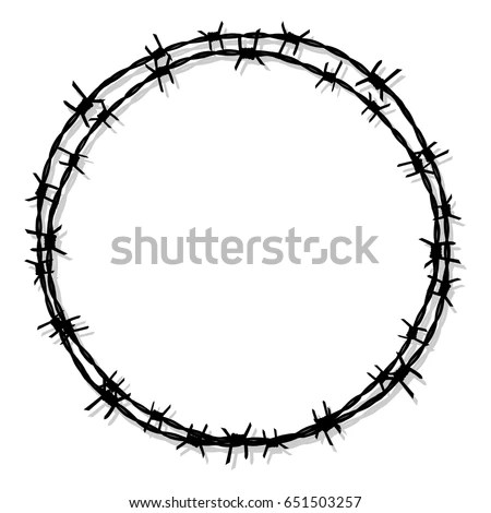 Circle Barbed Wire Prison Icon Vector Stock Vector