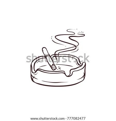 Black White Contour Handdrawn Burning Smoking Stock Vector