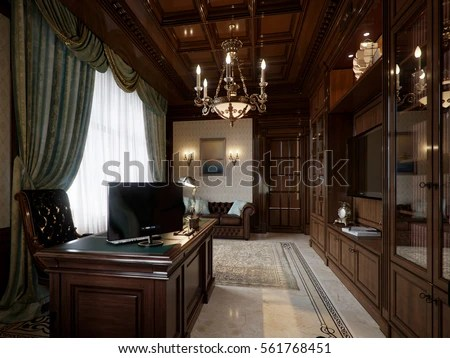 office chair leather accessories for posture spacious dark wood home classical stock illustration 561768451 - shutterstock