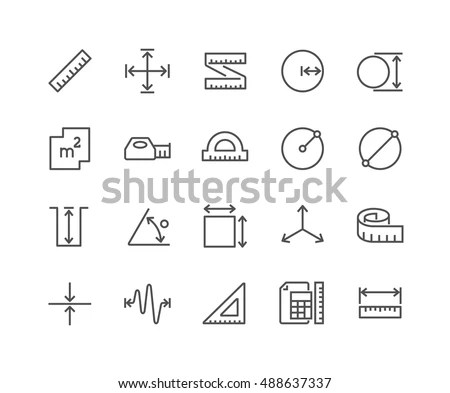 Simple Set Measure Related Vector Line Stock Vector