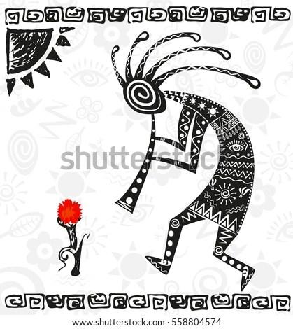 Kokopelli African God Fertility Ethnic Deity Stock Vector