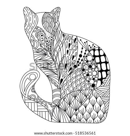 Decorative Outline Cat Ornate Silhouette Template Stock