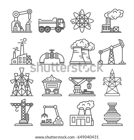 Industrial Building Factory Power Plant Icon Stock Vector