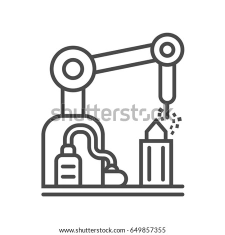 Factory Conveyor On Packing Flat Design Stock Vector