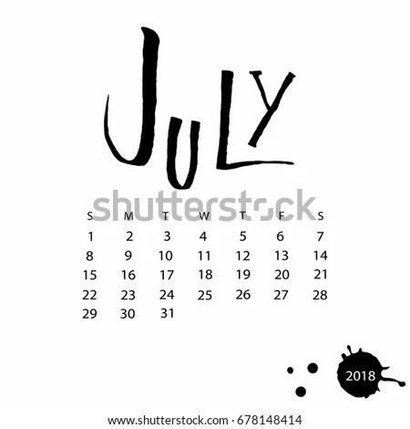 Vector Calendar July 2018 Hand Drawn Stock Vector
