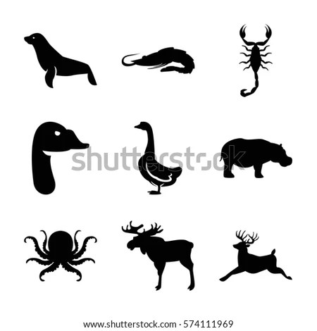 Lion Deer Bird Crocodile Silhouettes Stock Illustration