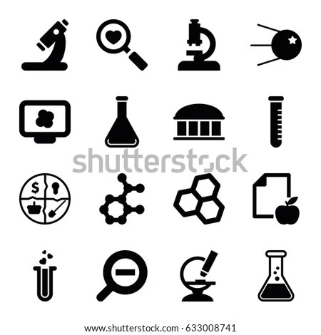 Colored Chemistry Icons Learning Web Applications Stock