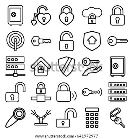 Lock Icons Set Set 25 Lock Stock Vector 641972977