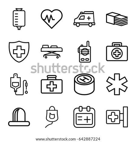Emergency Icons Set Set 16 Emergency Stock Vector