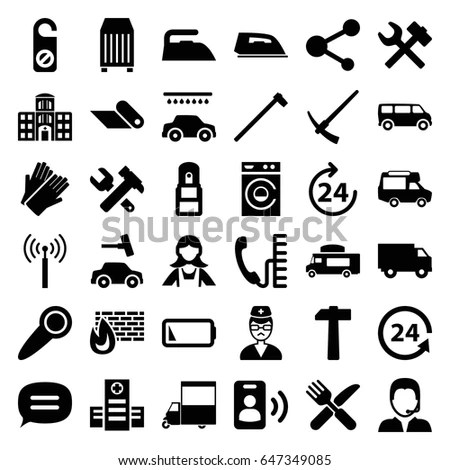 Car Parts Tools Accessories Eighty Four Stock Vector