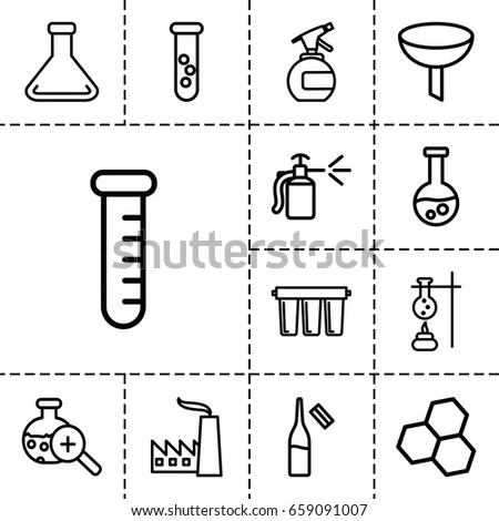 Chemical Icon Set 13 Outline Chemicalicons Stock