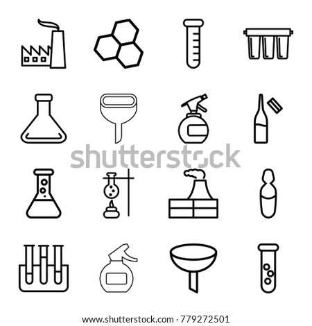 Chemical Icons Set 16 Editable Outline Stock Vector