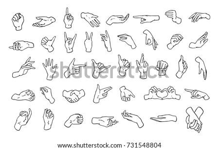 Set Various Hand Gestures Symbols Shown Stock Vector