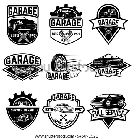 Set Tire Service Car Repair Labels Stock Vector 644522029