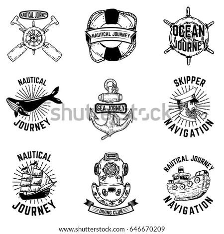Set Vintage Motorcycle Badges Emblem Logo Stock Vector