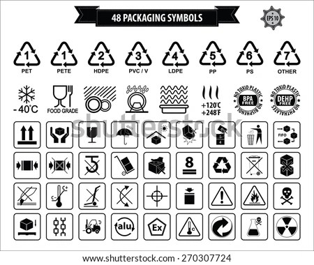 Set Packaging Symbols This Side Up Stock Vector 270307724