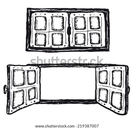 Open Closed Hand Drawn Windows Set Stock Vector 219387007