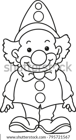 Coloring Page Outline Cartoon Smiling Clown Stock Vector