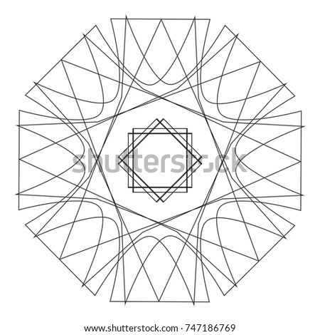 Mandala Adult Coloring Page Template Vector Stock Vector