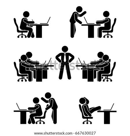 Stick Figure Poses Set Business Finance Stock Illustration
