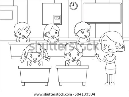 Kids Coloring Page Students Teacher Classroom Stock Vector