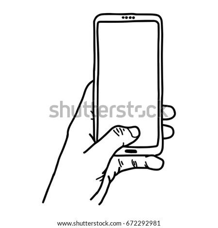 Hands Holding Digital Tablet Pc Sketch Stock Vector