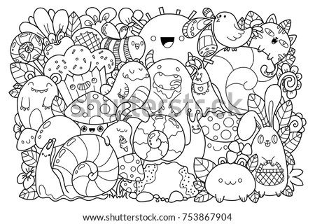 Doodle Nature Cute Cartoons Kawaii Style Stock Vector