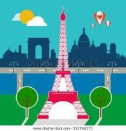 cartoon paris skyline stock