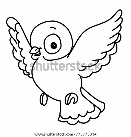 Cute Bird Illustration Drawing Color Flying Stock