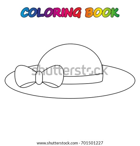 Ladys Hat Coloring Page Worksheet Game Stock Vector
